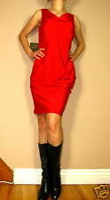 $295 DKNY Donna Karan Draped Front Stretch Silk Bright Red Cocktail Dress 6 NWT