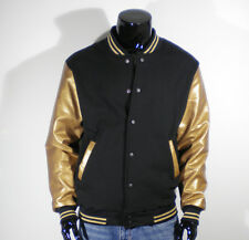 Men's New Gold Faux Leather Baseball Jacket Varsity XS,S,M,L,XL,2XL Quality