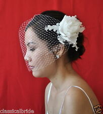 "Bandeau 906 ""PEONY"" VEIL SET Feather Fascinator & Ivory / White Birdcage Blusher"