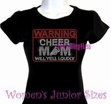 WARNING - Cheer Mom - Rhinestone Iron on T-Shirt - Pick Size S-3XL- Bling Top