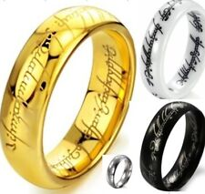 Size 7-15 6MM Tungsten Ceramic LOTR Ring Lord of Ring Stainless Steel Child Boy