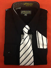 BOYS BLACK LONG SLEEVE DRESS SHIRT WITH MATCHING TIE+HANKY(Sizes 2 to 20)SALE