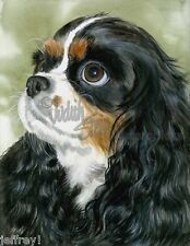 "Cavalier King Charles Spaniel Dog Art Print of Watercolor ""Fit for a King"""