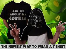 ASK ME ABOUT MY GORILLA T SHIRT- MENS & KIDS - STAG T SHIRTS - FANCY DRESS