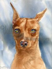 "Miniature Pinscher Min Pin Dog Art Print Watercolor Painting ""King of the Toy"""