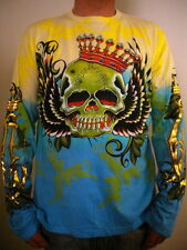 NEW Christian Audigier Long Sleeve Men's Shirt  SKULL and WINGS  yellow and blue