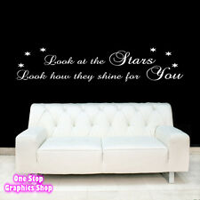 COLDPLAY LOOK AT THE STARS YELLOW WALL ART QUOTE STICKER -  LYRIC LOVE DECAL
