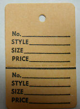Ivory BUFF Tan 2 part Merchandise Garment Sale Price Tags Small With String