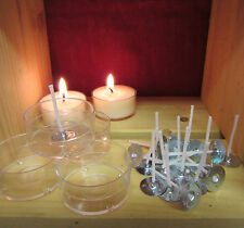 25 x POLYCARBONATE Tealight Making Cups + 25 pre waxed wicks. Fully reusable.