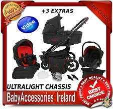 GRANDER BLACK BABY TRAVEL SYSTEM PRAM PUSHCHAIR CAR SEAT UMBRELLA 20 COLOURS