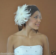Bandeau 803 VEIL SET w/ PEARL Feather Fascinator & Ivory  White Birdcage Blusher