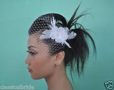 Bandeau 905 VEIL SET w/ RHINESTONE Feather Fascinator & Ivory / White Birdcage