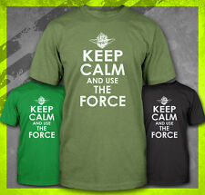 KEEP CALM AND USE THE FORCE YODA FUNNY STAR WARS JEDI KNIGHT VADER T-SHIRT TEE