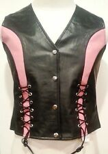 Women NAKED Leather Motorcycle Vest PREMIUM Laced PINK Accent  Form Fitting NEW