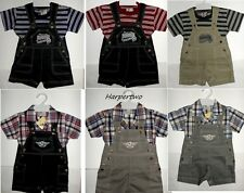 Smart Baby Boy Dungarees checked striped short sleeve Top outfit 6-12-18-23 M