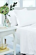 Catherine Lansfield White Non Iron Plain Dyed Percale Sheets & Optional P/cases