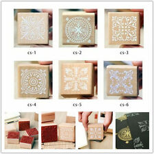 New retro Romantic Square Lace pattern seal Wooden Rubber Stamp