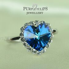 18CT White Gold Plated Ocean Blue Heart Ring Made With SWAROVSKI crystals