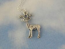 Patronus necklace- sterling silver stag deer, sterling chain - Harry Potter fans