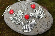 I love chickens necklace and earring set - fat hens, red hearts, sterling silver