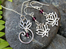 Zen lotus flower necklace & earring set - sterling silver, amethyst crystals