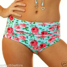 MARILYN SEPARATES - Blue Floral 1950's Bikini / High Waisted Bottoms - Swimsuit