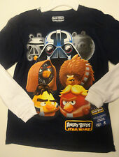 Boys Angry Birds Star Wars Black White Two Toned Long Sleeve Shirt  SIzes S, XL