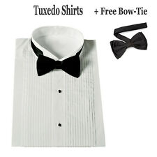 Men's white tuxedo shirt with black bow tie by TDC collection