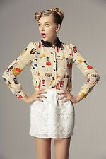 ET009 New Fashion Long Sleeve Peter Pan Collar Cartoon Characters Top T-Shirts