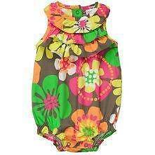 Carters Brown Bold Tropical Flower Bubble Sunsuit Romper One Piece 3 6 12 mo NWT