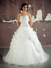 New White/Ivory Organza Wedding Dress Bridal Bride Prom Gown Stock Size 6-18++++