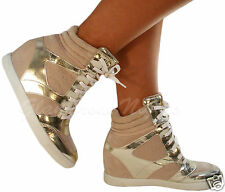 LADIES CREAM / LIGHT GOLD HIGH HI TOP LACE UP WEDGE TRAINERS