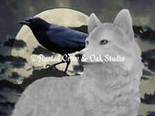 White Wolf and Crow, Unexpected Friends in a Storm Matted Picture Art Print A389