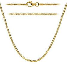 Sterling Silver 925 Gold Plate Popcorn Chain 1.6mm Made in Italy - Lobster Clasp