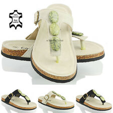 NEW WOMENS LADIES REAL LEATHER FLAT SUMMER FLIP FLOPS MULES SANDALS SHOES SIZE 3