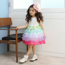 Baby Flower Girl Rainbow Cancan Tulle Skirt Birthday Party Pageant Recital Dress