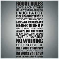 House Rules...WALL QUOTE DECAL VINYL LETTERING SAYING