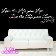 BOB MARLEY LOVE LIFE LIVE WALL ART QUOTE STICKER -  LYRICS SONG LOVE DECAL