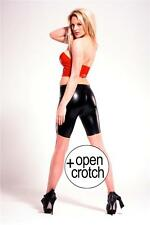 Latex Bermuda Shorts w Open Crotch - Black Red Translucent - Rubber Fetish