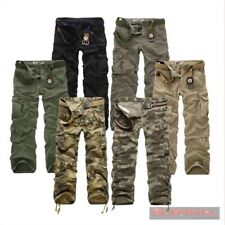 NEW MENS ARMY DESIGNER CARGO CAMOUFLAGE STRAIGHT LEG PANTS SZ 30 32 34 36 COTTON