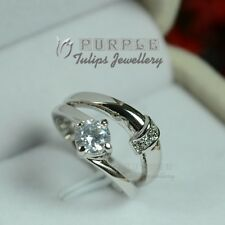 18CT White Gold GP SWAROVSKI Crystals Engagement, Bridal Twin Ring