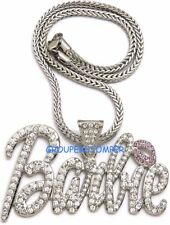 Barbie Necklace New Iced Out Pendant Style Chain Assorted Sizes