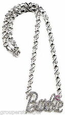Hugs & Kisses New Barbie Iced Out 18 Inch Pendant ID Necklace