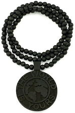 The World Is Yours Necklace New Good Wood Style With 36 Inch Wood Bead Chain