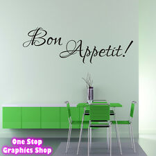 BON APPETIT WALL ART QUOTE STICKER -  KITCHEN COOKING DINING ROOM LOVE DECAL