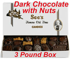 3 Pound See's Candies Dark Chocolate with Nuts Candy Pick Flavor + Gift Wrap