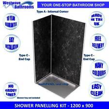 Shower Wall Panels - Complete Kit for 1200 x 900 Shower - Various Colours