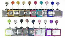 Bling Multi-Colors Rhinestone Retractable Reel with Horizontal Badge Holder