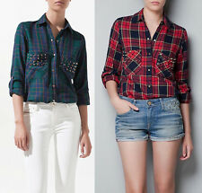 Fashion Plaids & Checks Flannel Womens Button Down Casual Shirts Tops Blouses