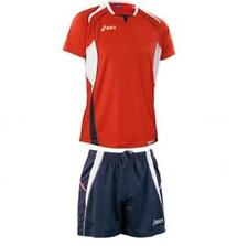 Kit Men's Volleyball: Jersey + Shorts ASICS OLYMPIC red blue T212Z1